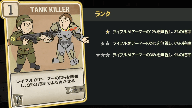 TANK KILLER のランク別効果について【Fallout76】