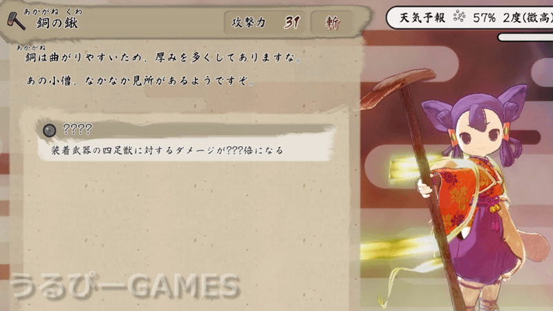 【天穂のサクナヒメ】銅の鍬(あかがねのくわ)の性能