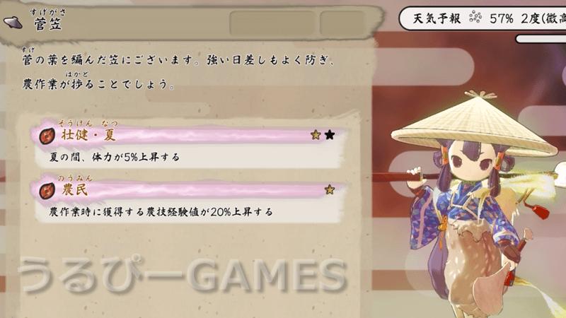 【天穂のサクナヒメ】菅笠(すげかさ)の性能